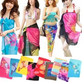 Women Sexy Chiffon Wrap Dress Pareo Sarong Beach Floral Swimwear Scarf Random Color