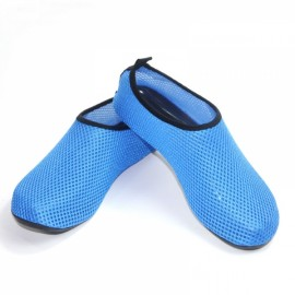 Unisex Paired Beach Mesh Flat Shoe Summer Breathable Swimming Snorkeling Sandal Water Shoe Blue 4XL