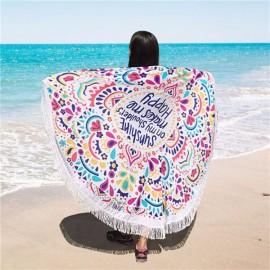 150cm Bohemian Style Thin Chiffon Tassel Printing Pattern Beach Yoga Towel Mandala Round Bed Sheet Tapestry Tablecloth