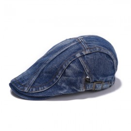 Cool Oblique Stripes Unisex Outdoor Sunshade Hat Denim Beret Hat Dark Blue