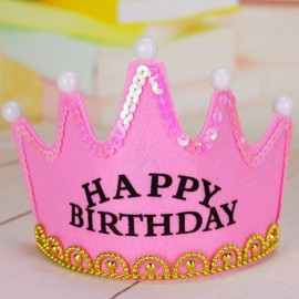 Crown Style Colorful Non-woven Hat King Princess Luminous LED Birthday Cap Pink Birthday Type
