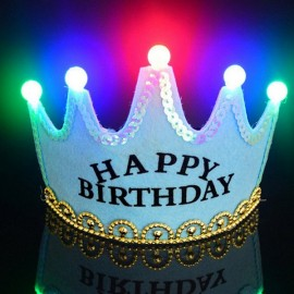 Crown Style Colorful Non-woven Hat King Princess Luminous LED Birthday Cap Blue Birthday Type