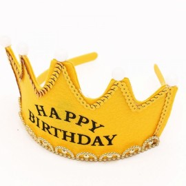 Crown Style Colorful Non-woven Hat King Princess Luminous LED Birthday Cap Yellow Birthday Type