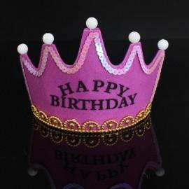 Crown Style Colorful Non-woven Hat King Princess Luminous LED Birthday Cap Purple Birthday Type