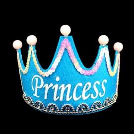 Crown Style Colorful Non-woven Hat King Princess Luminous LED Birthday Cap Blue Princess Type