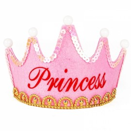 Crown Style Colorful Non-woven Hat King Princess Luminous LED Birthday Cap Pink Princess Type