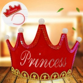 Crown Style Colorful Non-woven Hat King Princess Luminous LED Birthday Cap Red Princess Type