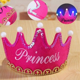 Crown Style Colorful Non-woven Hat King Princess Luminous LED Birthday Cap Rose Red Princess Type