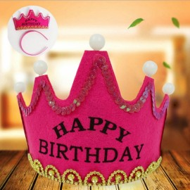 Crown Style Colorful Non-woven Hat King Princess Luminous LED Birthday Cap Rose Red Birthday Type