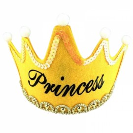 Crown Style Colorful Non-woven Hat King Princess Luminous LED Birthday Cap Yellow Princess Type