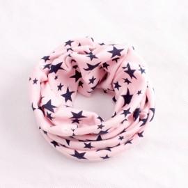 Stars Pattern Children's Cotton Neckerchief Kids Boy Girl Scarf Light Pink