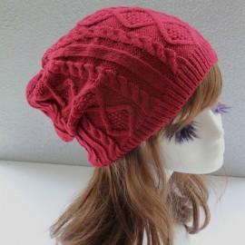 Unisex Knitted Warm Fashion Hat Twist Pattern Beanies Winter Gorro Purplish Red