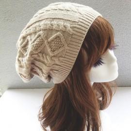 Unisex Knitted Warm Fashion Hat Twist Pattern Beanies Winter Gorro Beige