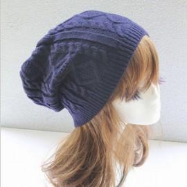 Unisex Knitted Warm Fashion Hat Twist Pattern Beanies Winter Gorro Navy Blue
