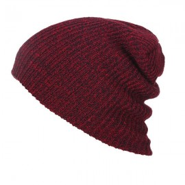 Unisex Baggy Beanie Oversize Winter Warm Crochet Knitted Cap Wine Red