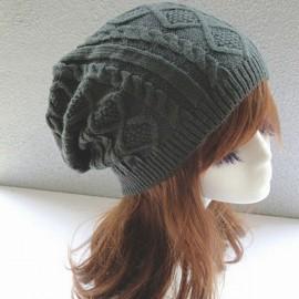 Unisex Knitted Warm Fashion Hat Twist Pattern Beanies Winter Gorro Dark Gray