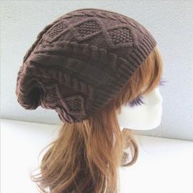Unisex Knitted Warm Fashion Hat Twist Pattern Beanies Winter Gorro Coffee