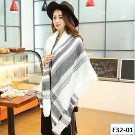 Women Fashion Long Soft Plaid Tassel Hem Scarf Winter Warm Cashmere Imitation Scarves Shawl Pashmina F32-01