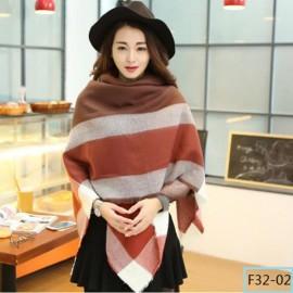 Women Fashion Long Soft Plaid Tassel Hem Scarf Winter Warm Cashmere Imitation Scarves Shawl Pashmina F32-02