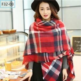 Women Fashion Long Soft Plaid Tassel Hem Scarf Winter Warm Cashmere Imitation Scarves Shawl Pashmina F32-03