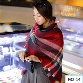 Women Fashion Long Soft Plaid Tassel Hem Scarf Winter Warm Cashmere Imitation Scarves Shawl Pashmina F32-14
