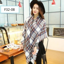 Women Fashion Long Soft Plaid Tassel Hem Scarf Winter Warm Cashmere Imitation Scarves Shawl Pashmina F32-08