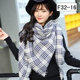 Women Fashion Long Soft Plaid Tassel Hem Scarf Winter Warm Cashmere Imitation Scarves Shawl Pashmina F32-16