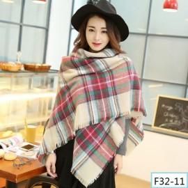 Women Fashion Long Soft Plaid Tassel Hem Scarf Winter Warm Cashmere Imitation Scarves Shawl Pashmina F32-11