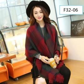 Women Fashion Long Soft Plaid Tassel Hem Scarf Winter Warm Cashmere Imitation Scarves Shawl Pashmina F32-06