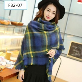 Women Fashion Long Soft Plaid Tassel Hem Scarf Winter Warm Cashmere Imitation Scarves Shawl Pashmina F32-07