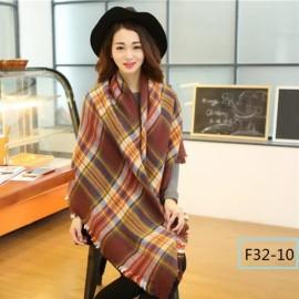 Women Fashion Long Soft Plaid Tassel Hem Scarf Winter Warm Cashmere Imitation Scarves Shawl Pashmina F32-10