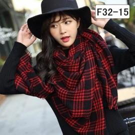 Women Fashion Long Soft Plaid Tassel Hem Scarf Winter Warm Cashmere Imitation Scarves Shawl Pashmina F32-15