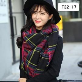 Women Fashion Long Soft Plaid Tassel Hem Scarf Winter Warm Cashmere Imitation Scarves Shawl Pashmina F32-17