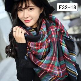 Women Fashion Long Soft Plaid Tassel Hem Scarf Winter Warm Cashmere Imitation Scarves Shawl Pashmina F32-18