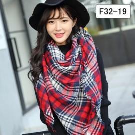 Women Fashion Long Soft Plaid Tassel Hem Scarf Winter Warm Cashmere Imitation Scarves Shawl Pashmina F32-19