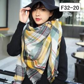 Women Fashion Long Soft Plaid Tassel Hem Scarf Winter Warm Cashmere Imitation Scarves Shawl Pashmina F32-20