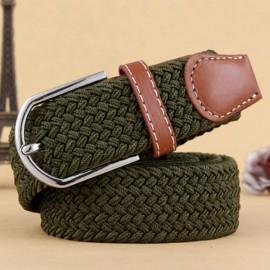 Unisex Canvas Plain Webbing Metal Buckle Woven Stretch Waist Belt Army Green