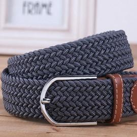 Unisex Canvas Plain Webbing Metal Buckle Woven Stretch Waist Belt Dark Gray