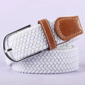 Unisex Canvas Plain Webbing Metal Buckle Woven Stretch Waist Belt White