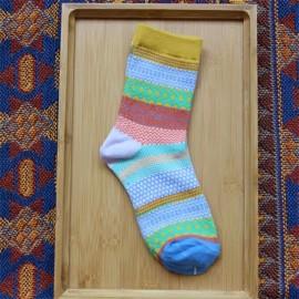 Unisex Harajuku Style Stripe Cotton Multi-Color Mid-calf Hosiery Socks Yellow