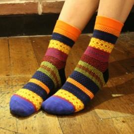 Unisex Harajuku Style Stripe Cotton Multi-Color Mid-calf Hosiery Socks Orange