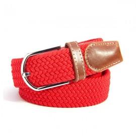 Unisex Canvas Plain Webbing Metal Buckle Woven Stretch Waist Belt Red