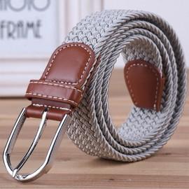 Unisex Canvas Plain Webbing Metal Buckle Woven Stretch Waist Belt Light Gray