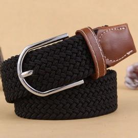 Unisex Canvas Plain Webbing Metal Buckle Woven Stretch Waist Belt Black