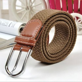 Unisex Canvas Plain Webbing Metal Buckle Woven Stretch Waist Belt Dark Khaki