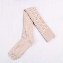 Woman Wool Braid Over Knee Socks Thigh High Hose Stockings Pink White