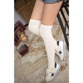 Woman Wool Braid Over Knee Socks Thigh High Hose Stockings Ivory