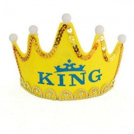 Crown Style Colorful Non-woven Hat King Princess Luminous LED Birthday Cap Yellow Prince Type