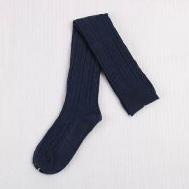 Woman Wool Braid Over Knee Socks Thigh High Hose Stockings Navy