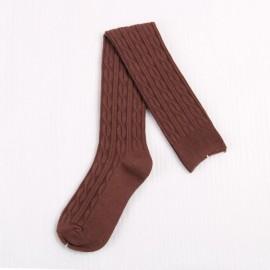 Woman Wool Braid Over Knee Socks Thigh High Hose Stockings Coffee